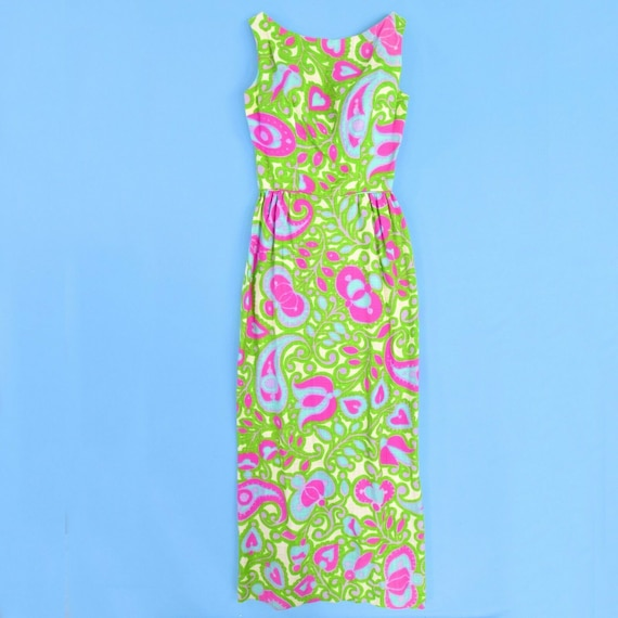 1960's vintage psychedelic maxi dress cut out back
