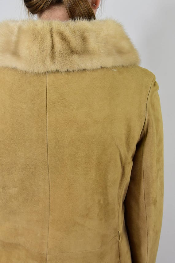 Stunning! 50s Vintage Fitted Coat Rubbed Suede Pr… - image 5