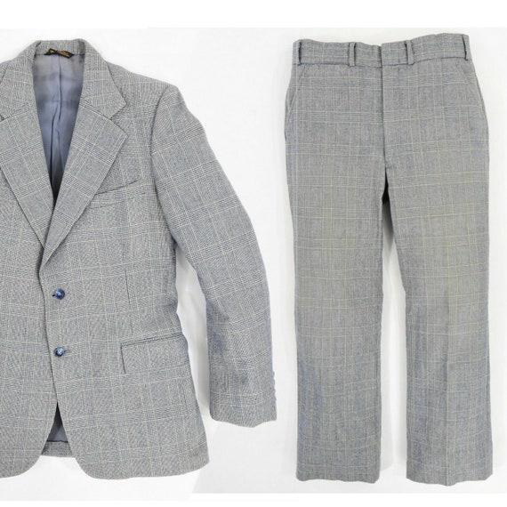 1980's vintage men's 100% wool glen plaid suit 36