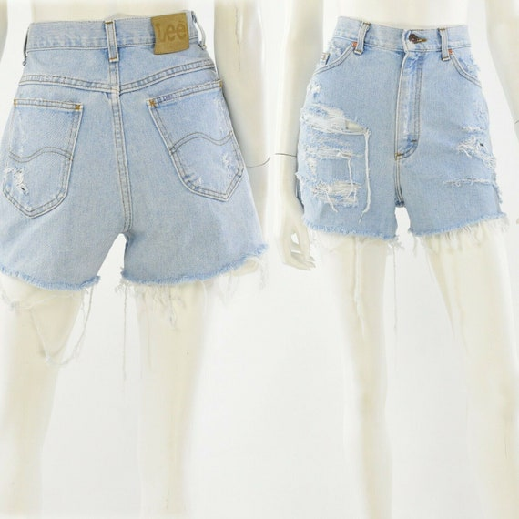 Waist size 24 Lee Jeans boho faded denim vintage country shorts High waist cut-off shorts