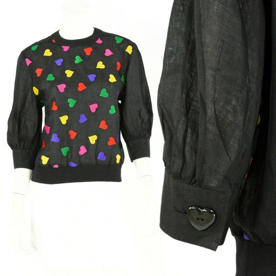 80s vintage amen wardy black embroidered hearts sh