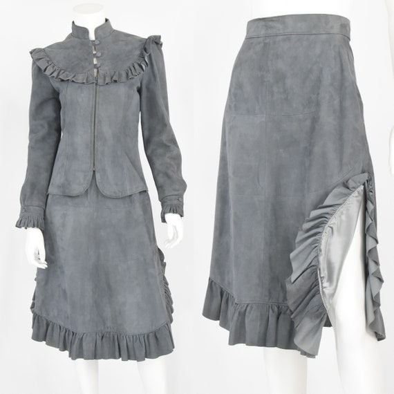 1970'S Vintage Gray Leather Ruffled Skirt Suit Man