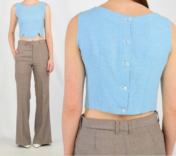 50s vintage crop top button back shirt boucle' kni
