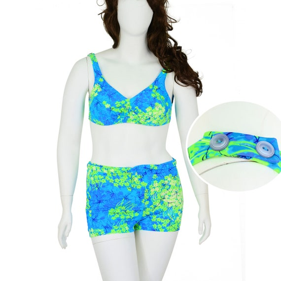 1960's Vintage High Waist 2 Piece Swimsuit Neon Gr