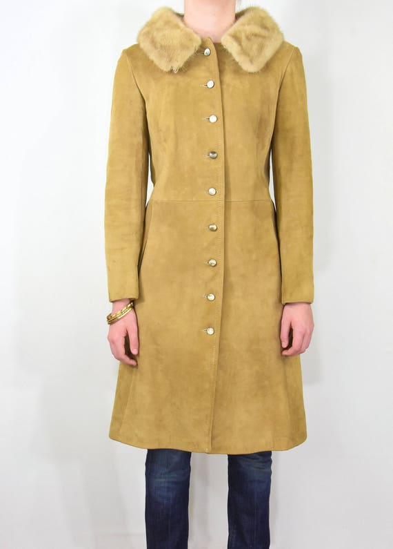 Stunning! 50s Vintage Fitted Coat Rubbed Suede Pr… - image 2