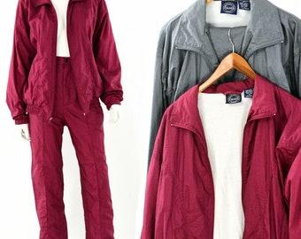 80s vintage Womens m blair adventurers club windbreaker suit maroon or gray