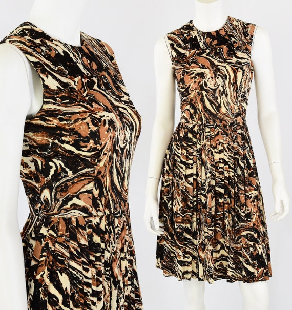 60s Vintage Abstract Print Day Dress Marbled Print