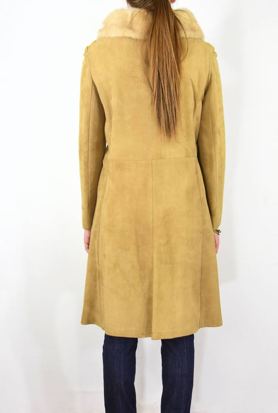 Stunning! 50s Vintage Fitted Coat Rubbed Suede Pr… - image 4