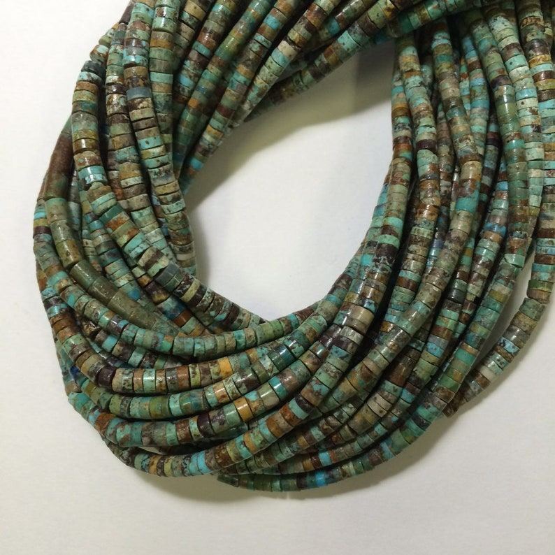 Natural Turquoise 4mm Turquoise Heishi brown with green color.16inch Great quality turquoise heishi.