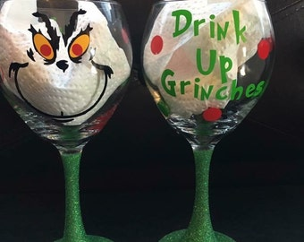 Grinch holiday wine glass