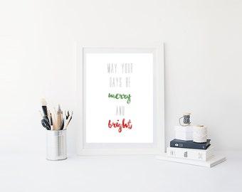 Wall Art, Christmas Decor, Merry and Bright, Digital Print, Instant Download, Holiday Decor, Christmas Art, Christmas Carol, Gallery Wall