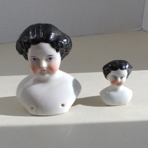 Antique China Doll Heads Porcelain Doll Busts Bisque Cloth Etsy