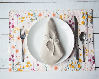 Floral & Orange 13x18 two-sided placemat set of 2