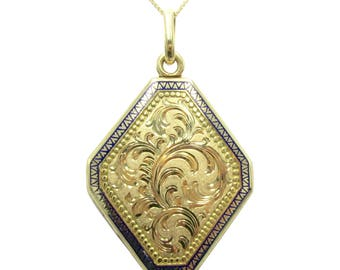Antique Cobalt Blue Enamel Hand Engraved 15K Gold Victorian Locket Pendant