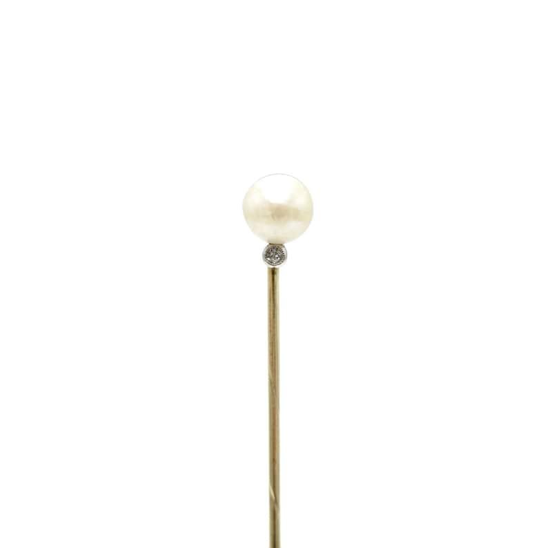 7e080d161baf Edwardian Natural Pearl & Diamond Antique Stick Pin Lapel | Etsy