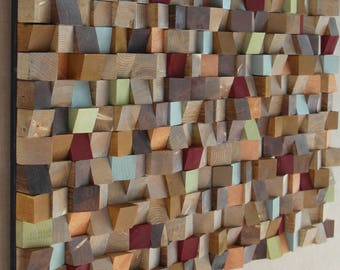 80 x 120 inch - Extra Large Reclaimed Wood wall Art, wood mosaic, geometric art, wood wall art