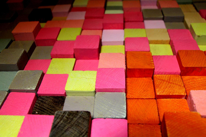 Holz-Wand-Kunst Altholz rustikales Holz-Mosaik geometrische   Etsy