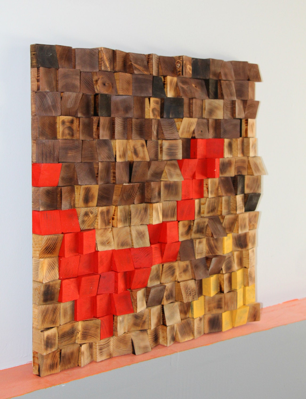 Rustic Wood Wall Art Woodburning Reclaimed Wood Wall Art Wood Mosaic Geometric Art Wood Wall Art Wood Wall Sculpture Abstract Wood Art