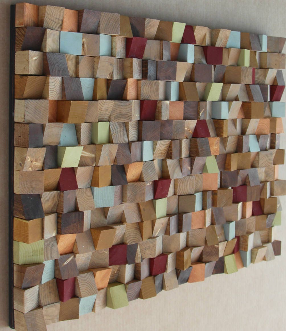 80 X 120 Inch Extra Large Reclaimed Wood Wall Art Wood Mosaic Geometric Art Wood Wall Art
