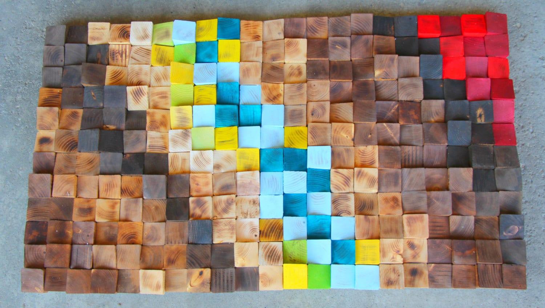 Holz-Wand-Kunst Holz-Mosaik 3D Wandbilder aus Holz   Etsy