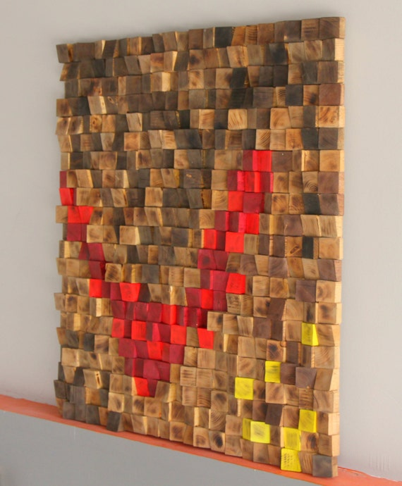 Rustic Wood Wall Art Wood Wall Sculpture Abstract Wood Art Woodburning Reclaimed Wood Wall Art Wood Mosaic Geometric Art Wood Wall Art