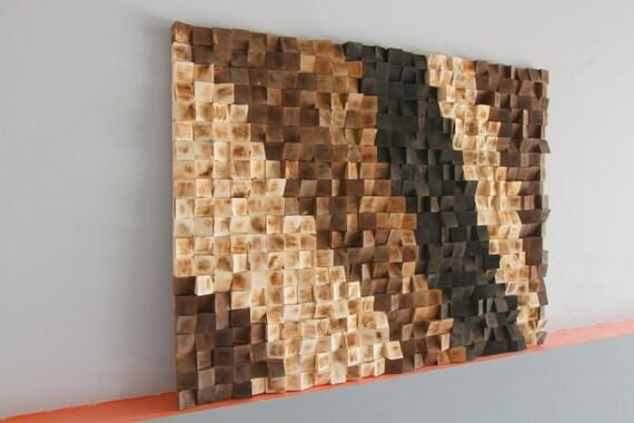 Rustic Wood Wall Art Reclaimed Woodburning Wood Wall Art Wood Mosaic Geometric Art Wood Wall Art Wood Wall Sculpture Abstract Wood Art