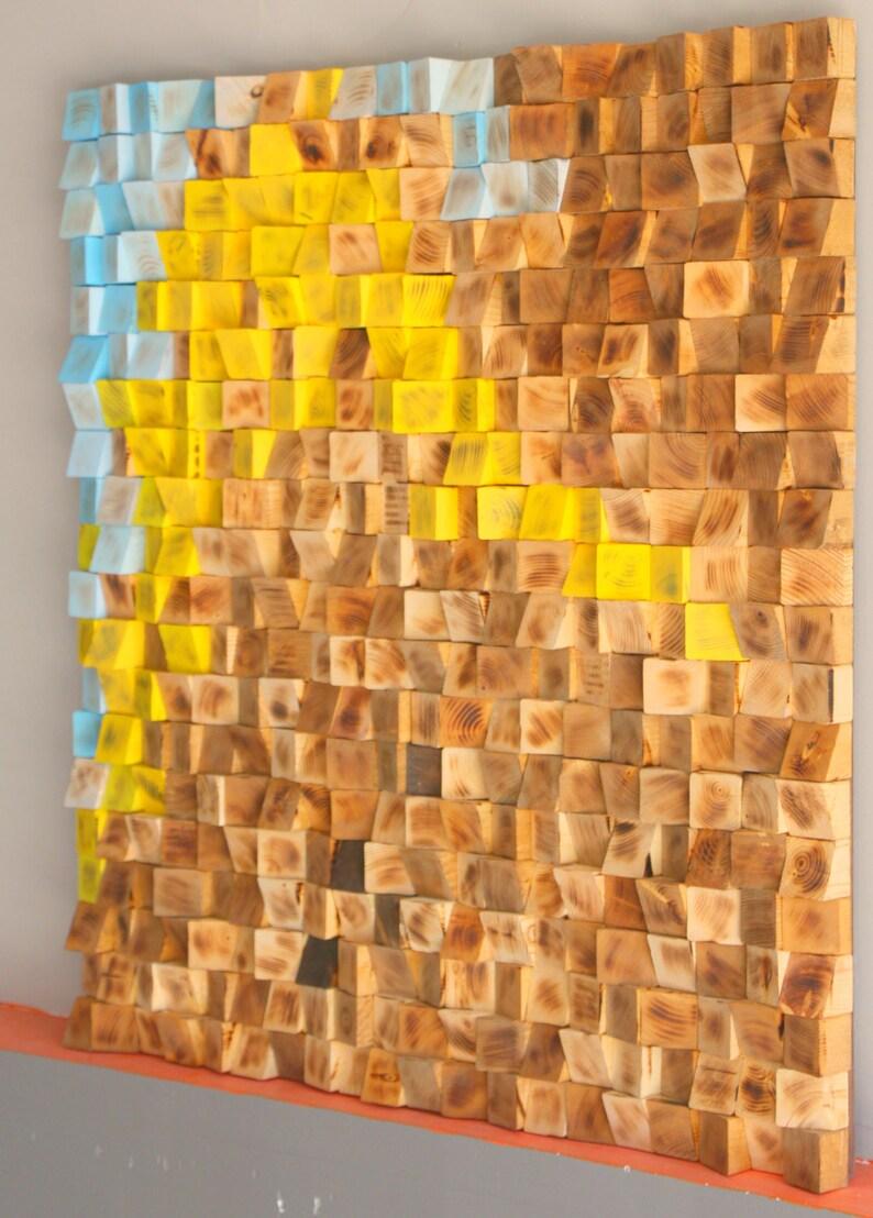 Aufgearbeiteten Holz Wand Kunst Holz Mosaik Wallpaper Etsy