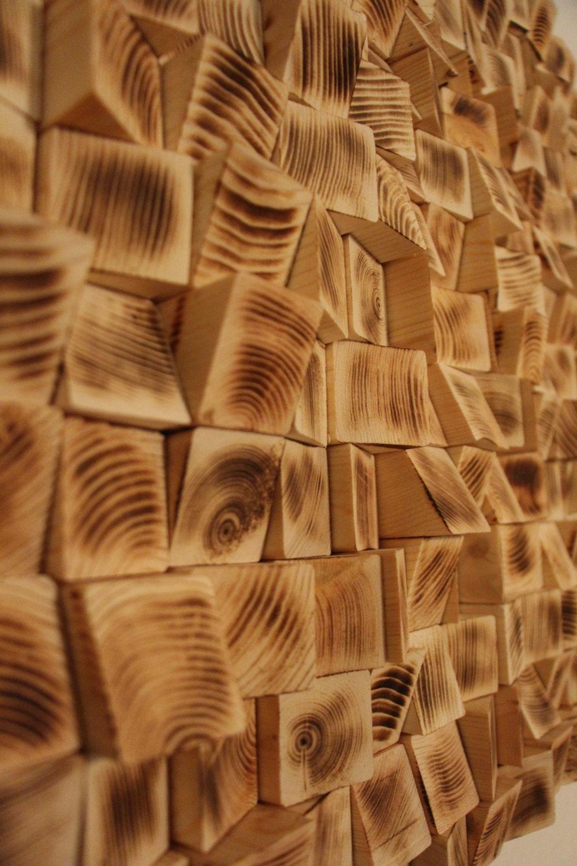 Altholz Holz-Wand-Kunst Holz Mosaik Wallpaper   Etsy