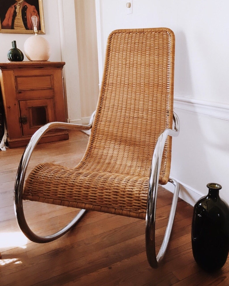 Terrific Sale Italian Woven Rattan And Chrome Rocker Chrome Rocking Chair Wicker Chrome Rocker Woven Wicker Rocker Italian Rocker Gmtry Best Dining Table And Chair Ideas Images Gmtryco