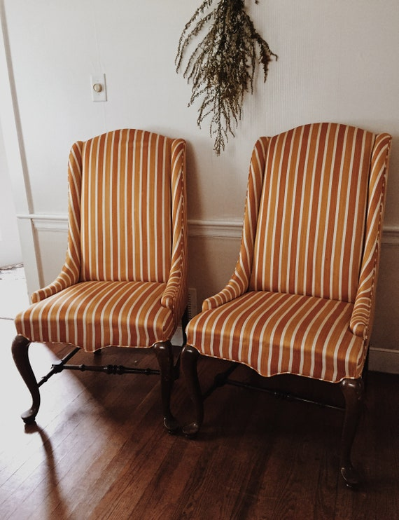 Pair Of Vintage Baumritter Chairs Orange And Cream Striped | Etsy