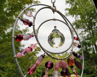 Crystal Suncatcher, Garden Art, Patio Accent, window jewelry. Antique victorian pinks, burgundy.