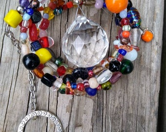 Spiral suncatcher with glass beads and prism ball. Window accent, porch decor, garden jewelry, tree bling - FUN!.