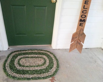 Camo, Forest Green Rag Rug.  Large Oval. Machine Wash Dry! Rustic, country farmhouse, boy, hunter.