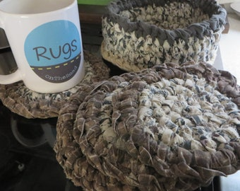 Mug Rugs, coasters & basket holder.  4 mug rugs in Charcoal /brown / tans. Toothbrush knotted. Machine wash! Cabin or bachelor pad decor!