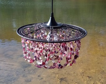 Victorian farmhouse chandelier,  Glass beads of plums, pinks, burgundy on gorgeous metal wire shade with pendant light fixture.