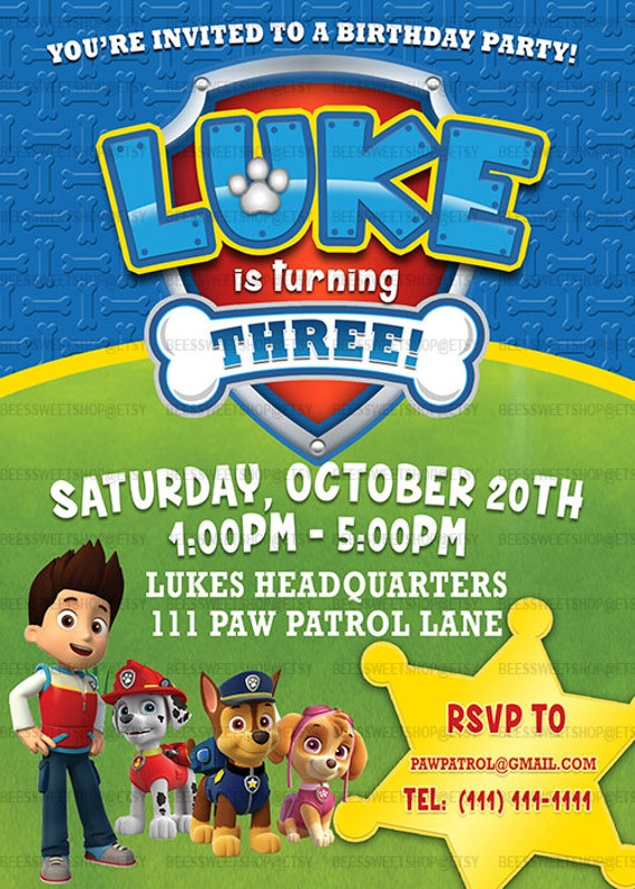 Paw Patrol Birthday Invitations Printable Digital File