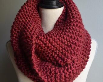 Chunky Knit Infinity Scarf in Merlot, Oversized Infinity Scarf, Chunky Knit Cowl, Dark Red Knit Scarf