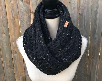 Chunky Crochet Infinity Scarf in Obsidian, Knit Scarf