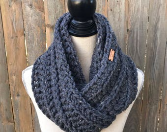 Chunky Crochet Infinity Scarf in Graphite, Knit Scarf