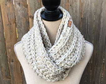 Chunky Crochet Infinity Scarf in Wheat, Knit Scarf