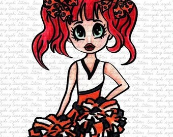 Image #77 - Cheerleader digital Stamp by Sasayaki Glitter - Naz Smith - Black and White - Lineart only