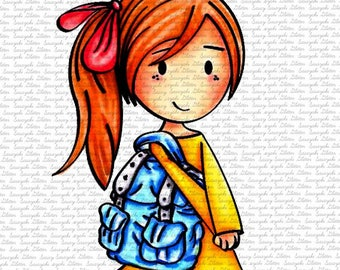 Mia Going to School Digital Stamp by Sasayaki Glitter