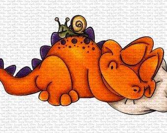 Image #111 - Goodnight Dino Digital Stamp by Naz Smith - Sasayaki Glitter, Line Art only. Black and White