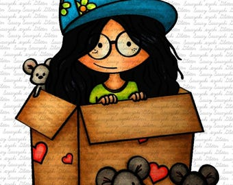 Image #107 - Peggy In A Box Digital Stamp by Naz Smith - Sasayaki Glitter Digital Stamps- Line art only - Black and White