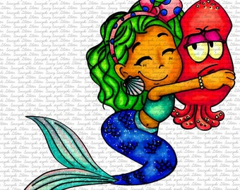 Image #124 - The Mermaid - Digital Stamp By Sasayaki Glitter Digital stamps - Naz Smith - Line art only - Black and White