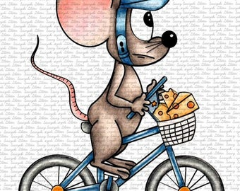 Image #93 - Mouse on a Bike - Digital Stamp by Sasayaki Glitter - Naz Smith - Line art only - Black and white