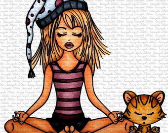 Image #106 - Yoga Digital Stamp by Naz Smith - Sasayaki Glitter Digital Stamps- Line art only - Black and White