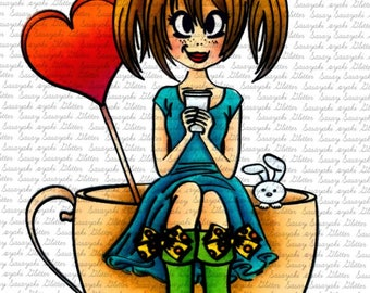 Image #89 - Coffee Time  Digital stamp by Sasayaki Glitter Digital Stamps - Naz Smith - Line art only - Black and White