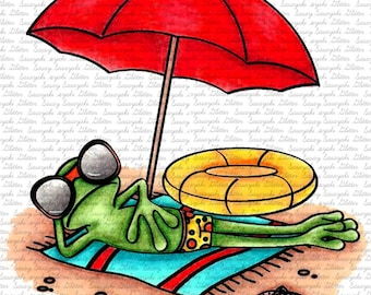 Image #102 - Beach Frog Digital Stamp by Naz Smith - Sasayaki Glitter Digital Stamps- Line art only - Black and White