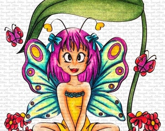 Image #65 - Butterfly Sara Sasayaki Glitter Digital Stamp - Naz Smith - Line art only - Black and White